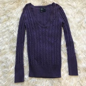American Eagle cable knit purple sweater